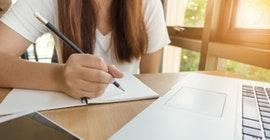 student taking examination